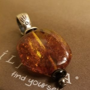 Silpada Rare Amber Black Onyx & Sterling Silver